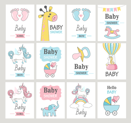 Set of baby shower greeting cards. Vector illustrations. Standard-Bild - 96683418