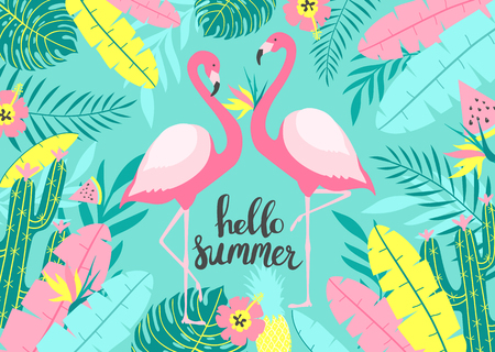 Tropical background with of two cute flamingos with inscription - Hello Summer. For print design. Vector Illustration