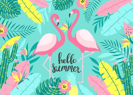 Tropikalne tło z dwoma uroczymi flamingami z napisem - Hello Summer. Do projektowania nadruku. Ilustracji wektorowych