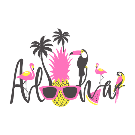 Aloha summer poster with toucan, flamingo, parrot, pineapple and palm. Vector Illustration.  Illustration