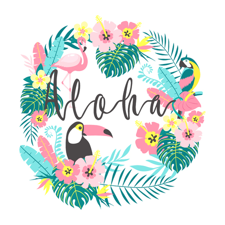 Toucan with flamingo, parrot, tropical flowers, palm leaves, hibiscus. Vector illustration