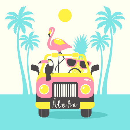 Aloha summer poster with toucan, flamingo, parrot, pineapple in the car. Can be used for poster, greeting card, bags, t-shirt. Vector Illustration. Illustration