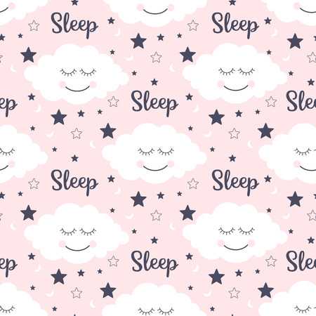 Seamless pattern with smiling sleeping clouds and stars. Vector illustration Illustration