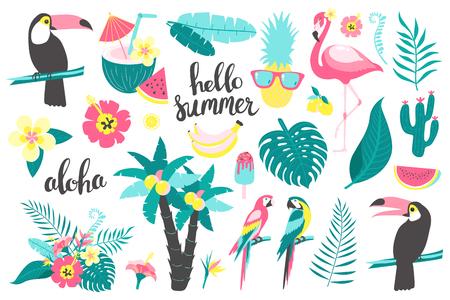 Letni zestaw elementów projektu tropikalnych liści, kwiatów, owoców, flamingów, tukan, papuga. Ilustracja wektorowa