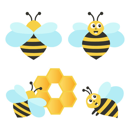 Set of funny bees. Vector illustration