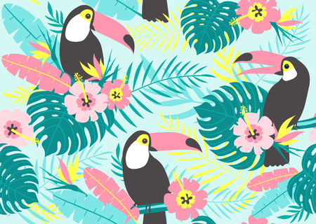 Tropical seamless pattern with toucans, exotic leaves and flowers. Vector illustration