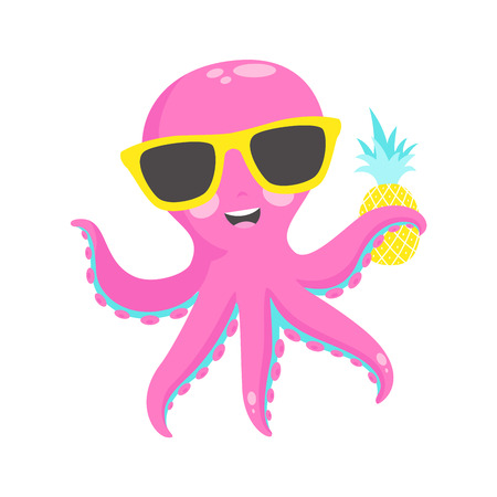 Cute pink octopus with pineapple illustration. 矢量图像