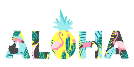 Aloha text with toucan, flamingo, pineapple and exotic leaves. Can be used for poster, greeting card, bags, t-shirt.