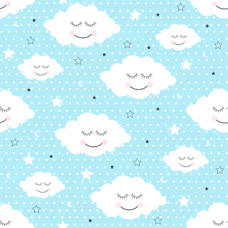 Seamless pattern with smiling sleeping clouds and stars. Illustration