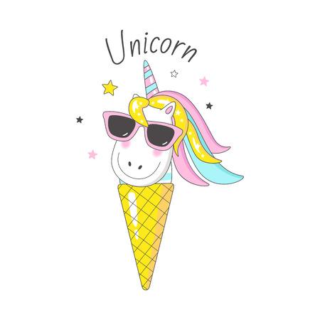 Ilustración de lindo unicornio. Se puede utilizar para carteles, tarjetas de felicitación, bolsos, camisetas.