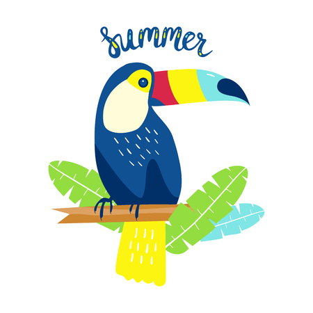Cute toucan with palm leaves, vector illustration