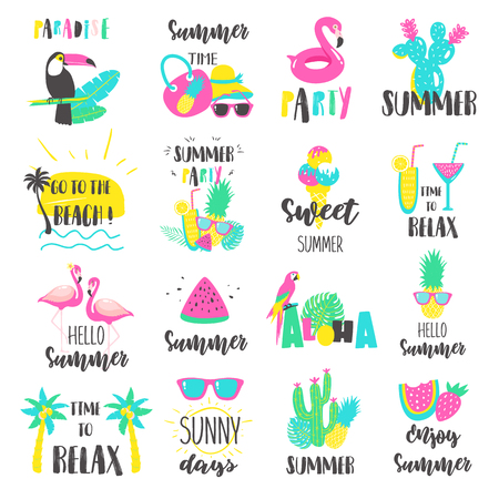 Summer lettering set with holiday elements. Vector illustration. Ilustração