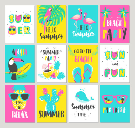 Set of Summer holiday cards. Hand drawn beautiful posters. Vector illustration Vettoriali