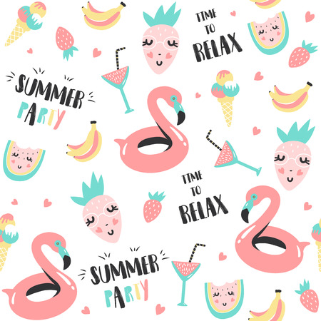 Summer pattern. Watermelon, flamingo and holiday elements. Vector illustration