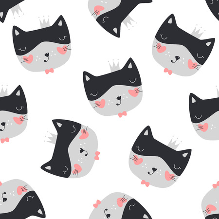 Seamless pattern with cute cat. Vector illustration