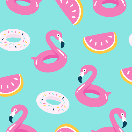 Summer pool floating with flamingo. Seamless pattern. Vector illustration.