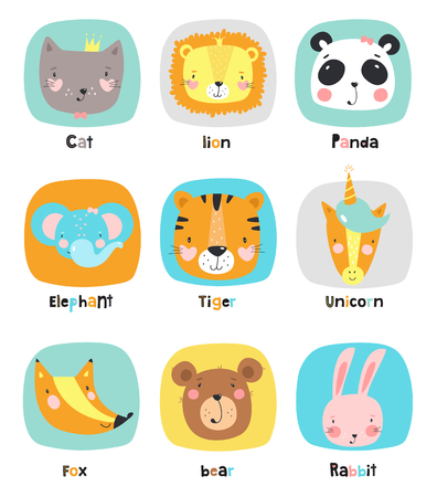 Set of cute cartoon animals. Vector illustration