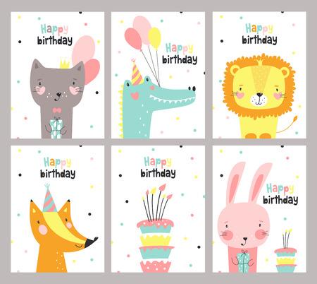 Set di carta di compleanno con simpatici animali. Illustrazione vettoriale Vettoriali