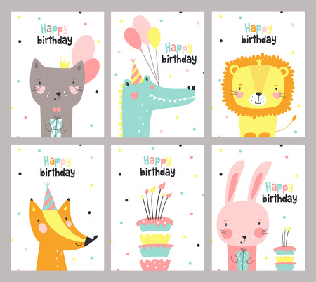 Set of birthday card with cute animals. Vector illustration