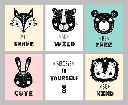 Set of greeting cards with cute animals in Scandinavian style. Vector illustration