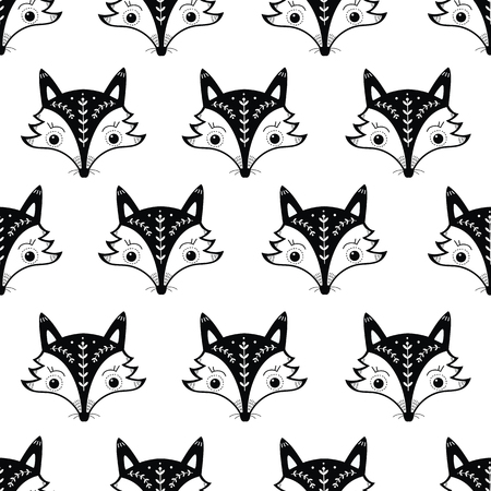 Seamless pattern with cute fox in Scandinavian style. Vector illustration