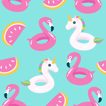 Summer pool floating with flamingo and unicorn. Seamless pattern. Vector illustration.