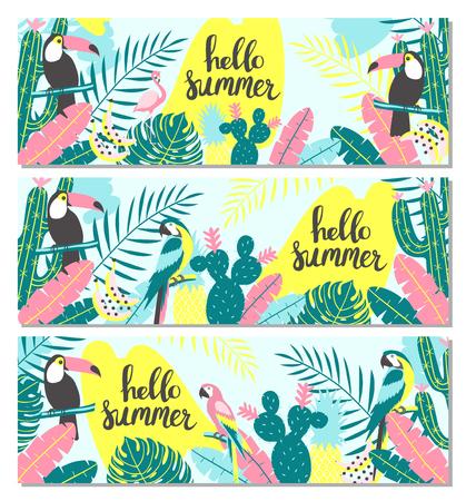 Conjunto de estandarte tropical con tucán, flamencos, loros, cactus y hojas exóticas. Ilustración vectorial