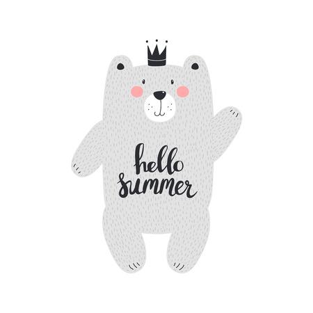 Cute bear with text hello summer. Vector illustration Illustration