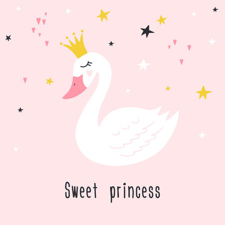 Cute princess swan on pink background with text Sweet princess. Hand drawn vector illustration