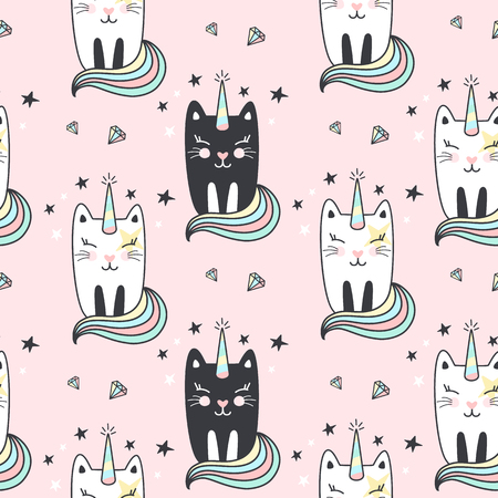 Seamless pattern with cute caticorns. Vector illustration