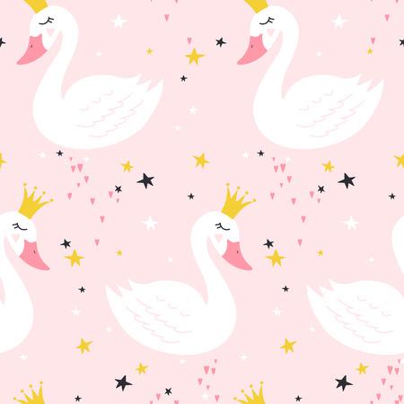 Nahtloses Muster mit niedlichem Prinzessinschwan auf rosa Hintergrund. Vektorillustration Vektorgrafik