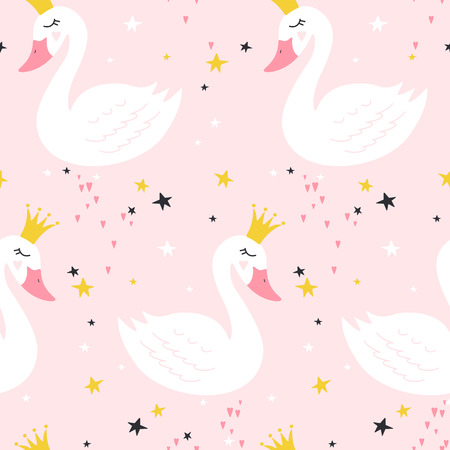 Seamless pattern with cute princess swan on pink background. Vector illustration