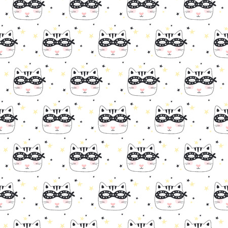Seamless pattern with Super Cat. Vector illustration Illustration