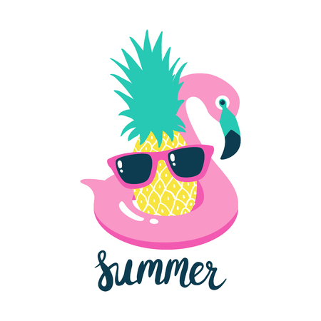 Summer poster pool floating with flamingo and pineapple. Vector illustration