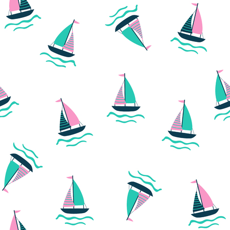 Seamless nautical pattern with sailing ship. Vector illustration.