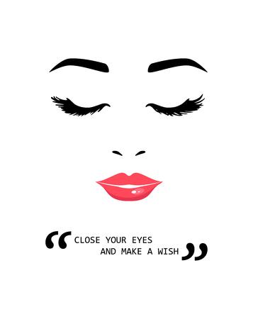 Schöne junge Frau mit geschlossenen Augen und inspirierendem Motivationszitat. Schließe deine Augen und mache einen Wunsch. Kreative Zitate für T-Shirt, Poster, Karten, Taschen. Vektorillustration