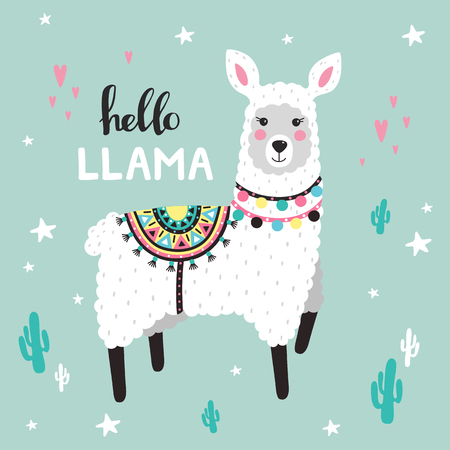 Cute Llama with cactuses. Childish print. Vector Illustrtion