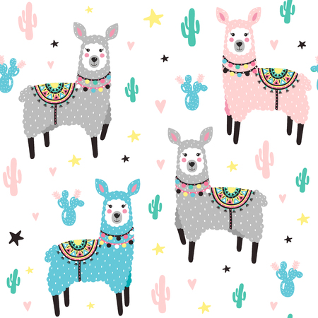 Seamless pattern with lama and cactus. Vector illustration