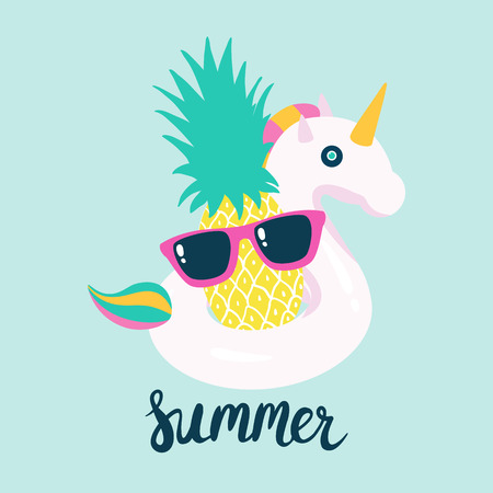 Summer poster pool floating with unicorn and pineapple. Vector illustration Ilustração