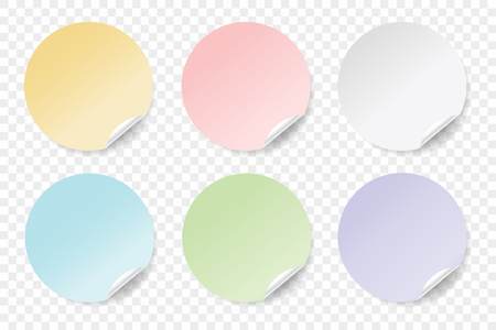 Round colorful stickers set. EPS 10. Vector illustration