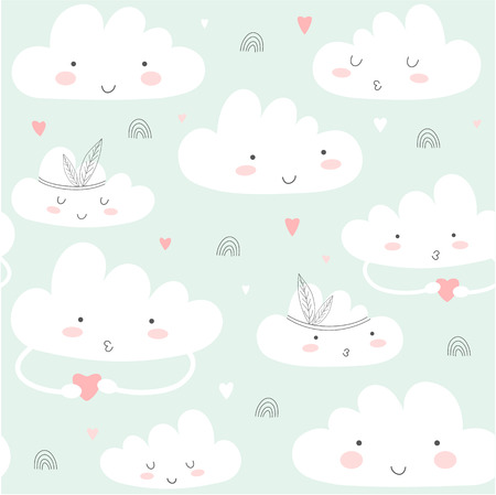 Seamless pattern with cute clouds. Vector illustration