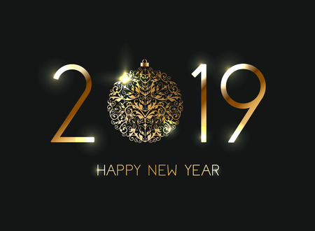 Happy New Year 2019 on black background eps 10. Vector illustration