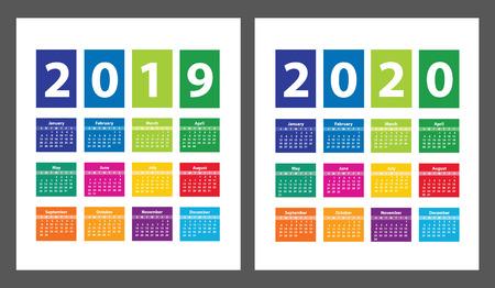 Calendario de color 2019 y 2020 a partir del domingo. Ilustración vectorial