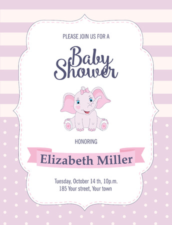 Baby Shower card with cute elephant. Vector illustration