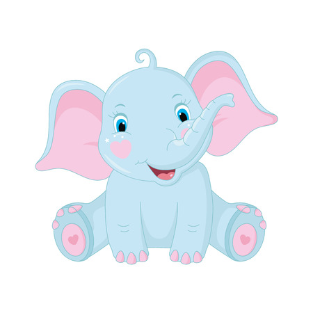 Cute baby elephant on white background. Vector Illustration Vectores