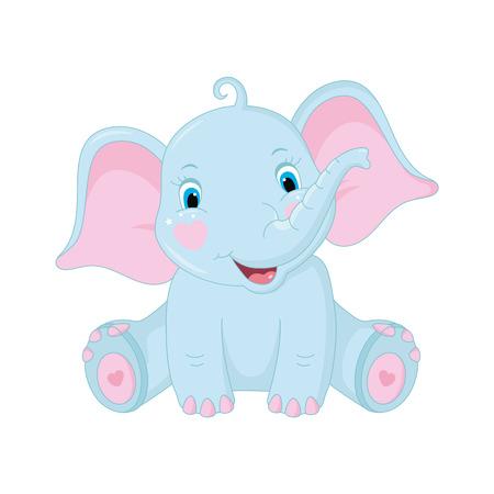 Cute baby elephant on white background. Vector Illustration Stock Illustratie