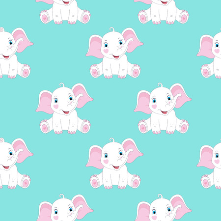 Seamless pattern with cute elephants. Baby print.