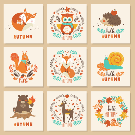 Set of autumn cards with cute animals bear, fox, squirrel, owl, deer, snail, hedgehog. Vector illustration
