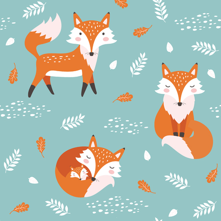 Seamless pattern with cute fox. Childish print. Vector illustration  イラスト・ベクター素材