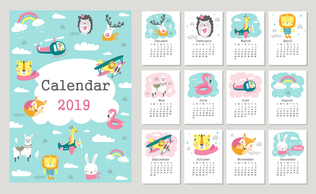 Calendar 2019 with cute forest animals. Hand drawn vector illustration Illustration